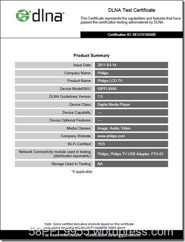 Philips 58PFL9956/12 DLNA 1.5 Certificate