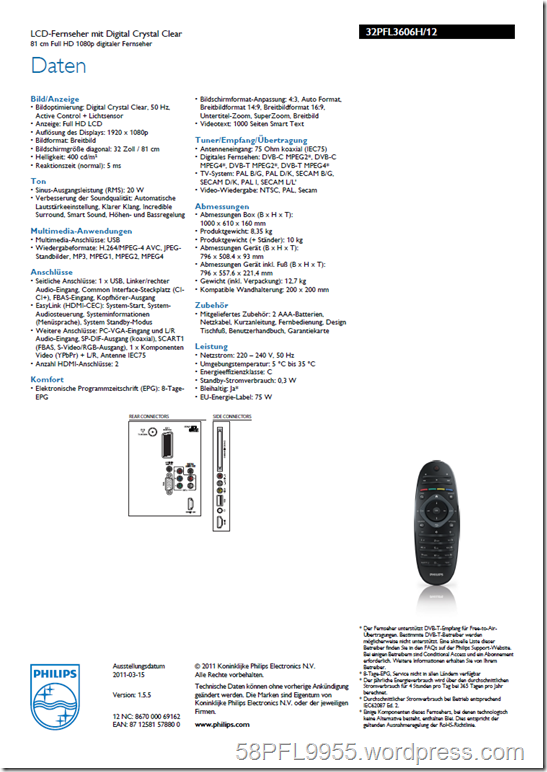 Philips 32PFL3606H/12 Product Spread Sheet