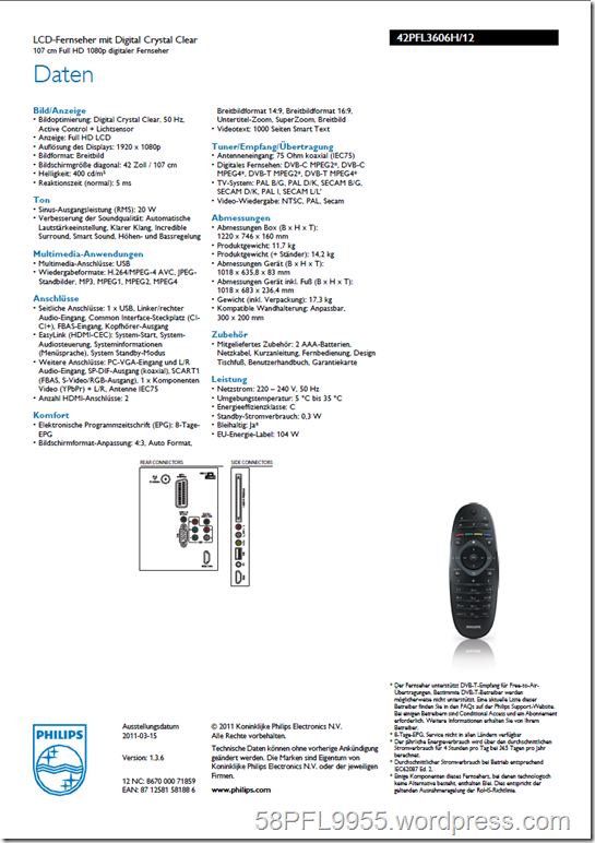 Philips 42PFL3606H/12 Product Spread Sheet