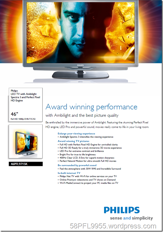 Philips 2010: 46PFL9715K/02 Product Spread Sheet