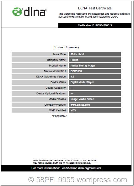 Philips BDP5500 DLNA-Zertifikat