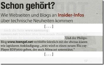 Toengel's Philips Blog in TV Spielfilm Digital XXL