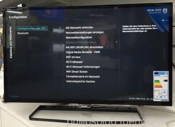 Philips 2015: Menü - Kabelgebunden oder WiFi