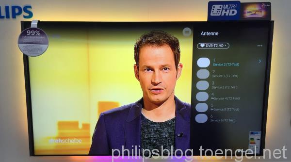 Philips 2015: HEVC via internal TV tuner (DVB-T2)