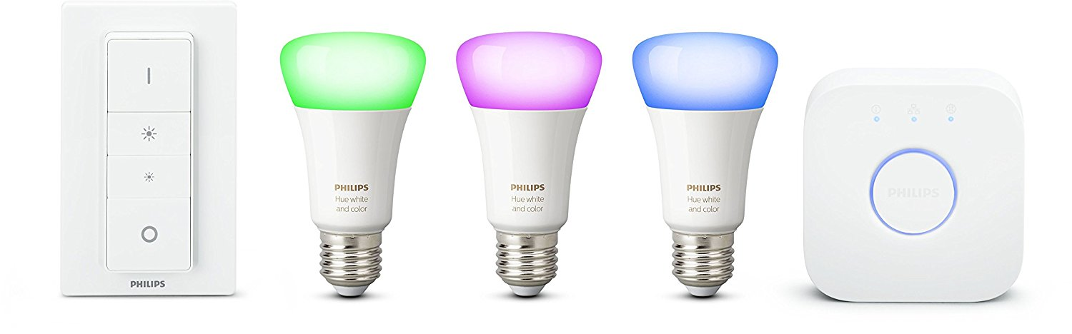 Philips Hue White & Color Ambiance E27 Starter Set, drei Lampen 4. Generation inkl. Bridge & Dimmschalter