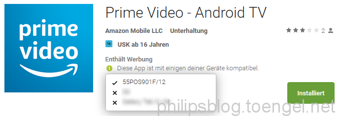 Amazon Prime Video App auf Google Play