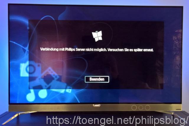 Philips AVM: Verbindung mit Philips Server nicht möglich. Versuchen Sie es später erneut.