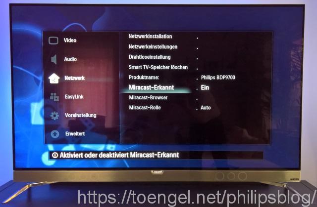 Philips BDP9700: Miracast-Einstellungen