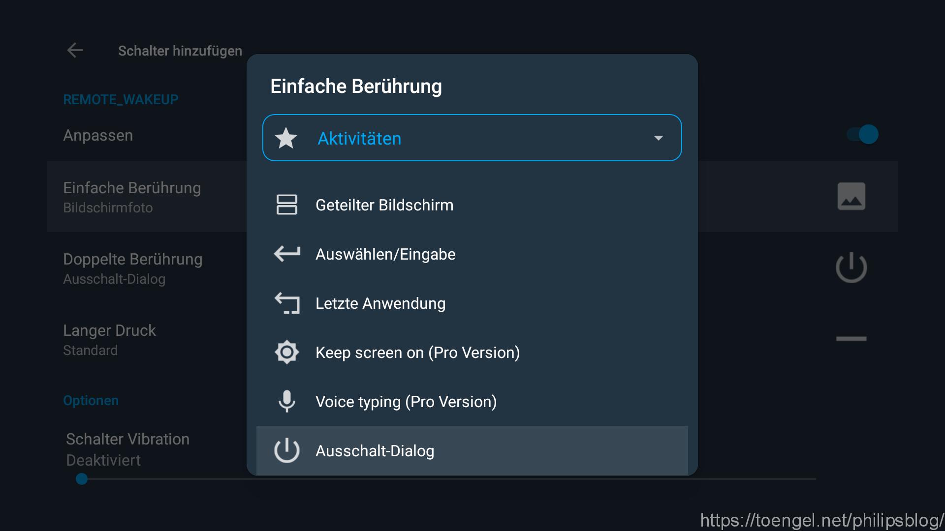 Philips: Android TV Fernbedienung neu belegen - Button Mapper - Aktivität auswählen