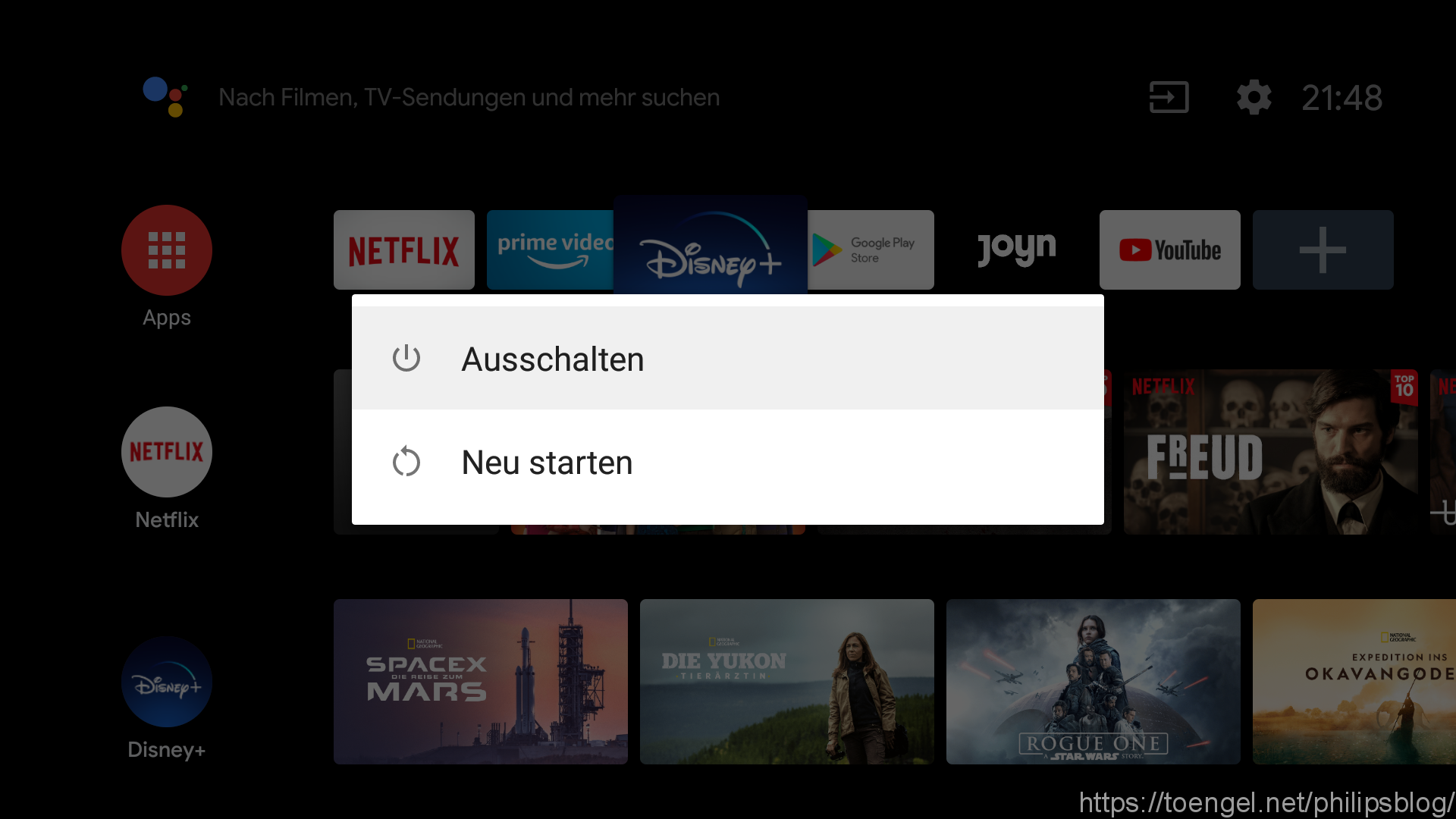 Philips: Android TV Fernbedienung neu belegen (Restart Dialog)