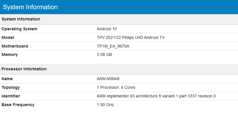 Philips 2021/2022: Mediatek 9970A, Android TV 10 (geekbench.com)