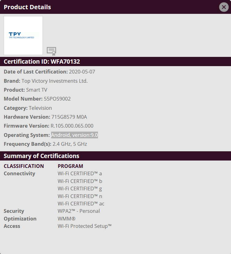 Philips 2017/2018: WiFi Certification TPM171E Android TV 9 Pie