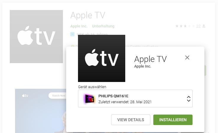 Philips Android TV: Apple TV App via Google Play