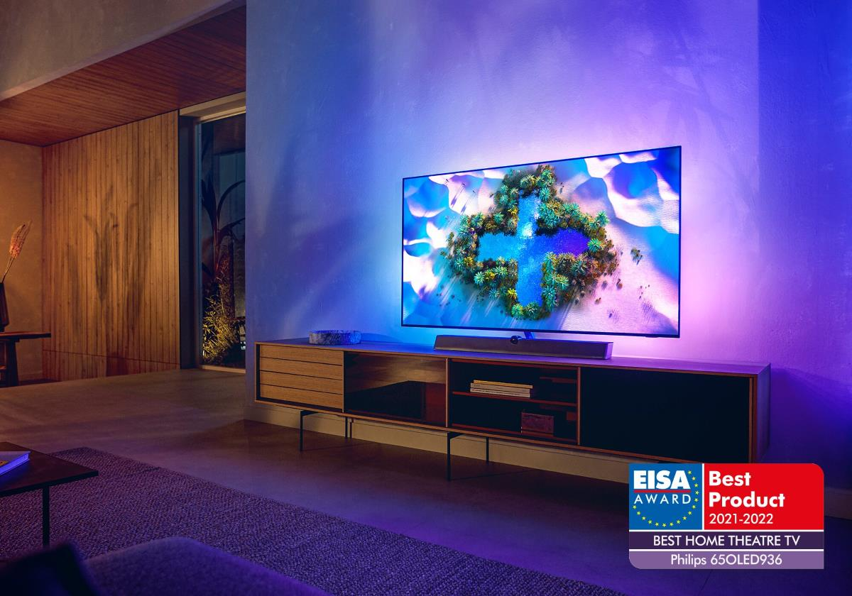 "Philips TV 2021: 65OLED936 EISA AWARD ""Best Home Theatre TV"""